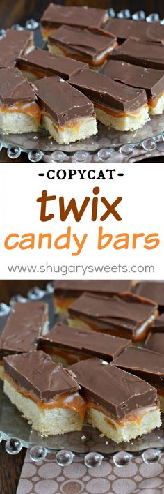 Homemade Twix Bars: these copycat candy bars are even better than the original. Make the recipe and try them for yourself today! Easy Cookie Recipes, Best Dessert Recipes, Candy Recipes, Fun Desserts, Baking Recipes, Sweet Recipes, Delicious Desserts, Christmas Desserts, Vegan Recipes