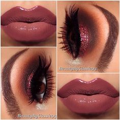 Cranberry glitter smokey eye