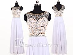 2015 White sheer chiffon long prom dress with beadings,sleeveless floor-length evening dress,backless prom dresses,80s formal dress,RS1095