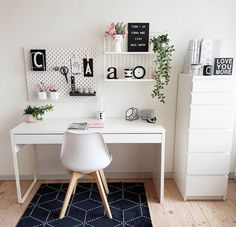 WORKSPACE in white what a dream by ! Please check out her feed Thank you so much for participating my sfs . - Architecture and Home Decor - Bedroom - Bathroom - Kitchen And Living Room Interior Design Decorating Ideas - Study Room Decor, Cute Room Decor, Room Ideas Bedroom, Home Decor Bedroom, White Desk Bedroom, Home Office Space, Home Office Design, Home Office Decor, Office Furniture