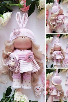 Bunny Textile Doll Rabbit Fabric Doll Cloth Handmade Doll Soft Decor Doll Interior Art Doll Nursery Pink Doll Tilda Baby Doll by Tanya E Baby Patchwork Quilt, Baby Quilts, Pretty Dolls, Beautiful Dolls, Tilda Toy, Pink Doll, Waldorf Dolls, Soft Dolls, Fabric Dolls