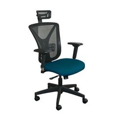 Marvel Office Furniture Fermata Mesh Desk Chair Upholstery Color: Iris Fabric and Black Base, Headrest Included: Yes
