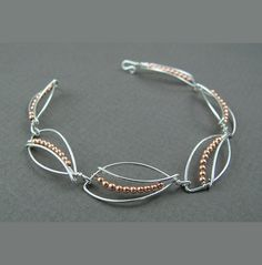 Wire and copper bead bracelet