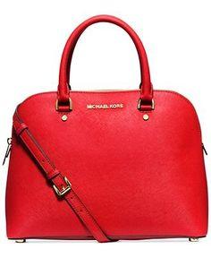 Michael Kors Cindy Large Saffiano Leather Satchel Handbag - CHILI