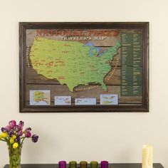 National Park Travel Map in Solid Wood Brown Frame - Want to visit every US National Park? Use this framed wall map to keep track of the parks you've already visited and the ones still on your list. Framed Maps, Wall Maps, Frames On Wall, Travel Map Pins, Camping Spots, Map Design, Traveling By Yourself, National Parks, Projects To Try