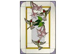 Hummingbirds & Fuchsia, Vertical Painted Art Glass Panel