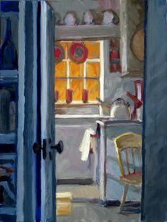 "Edward Hopper's Truro Studio Kitchen, oil on panel, 15 x 12"", 2012"