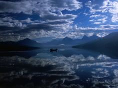 Early Morning Boating in Reflected Sea of Clouds, Lake Mcdonald, Glacier National Park, Montana - Fotografiskt tryck av Gareth McCormack på AllPosters.se