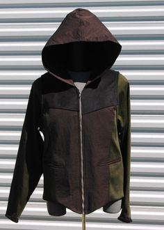 The Hood XL Mens Army Green Black Ultra Suede by OLearStudios, $167.00