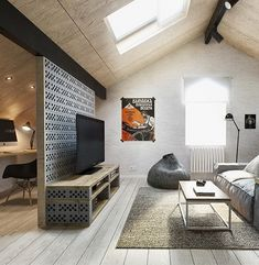 Concrete blocks for great DIY furniture - for-great-concrete bricks concrete blocks DIY Möbel_trennwand-and-DIY-room wall-off - Attic Design, Loft Design, Interior Design, Interior Paint, Interior Styling, Design Design, Design Ideas, Attic Living Rooms, Living Spaces