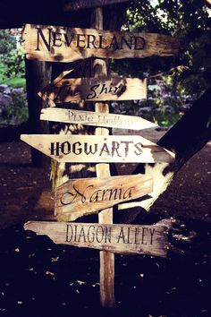 So fun. Signpost pointing the way to all sorts of fictional places.