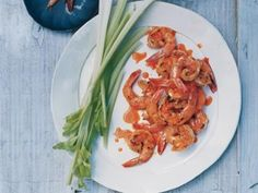 Buffalo Grilled Shrimp with Blue Cheese Dip and Celery