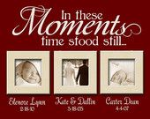 In These Moments...Time stood still - vinyl wall quote with Personalized name and date lettering- choose your color