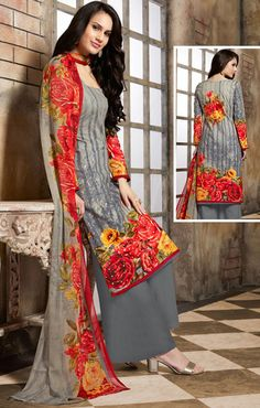 Shaded Grey Cotton #Palazzo #Suit