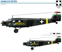 Hungarian Junkers Ju-52/3m Aircraft Painting, Defence Force, Ww2 Aircraft, Axis Powers, Paint Schemes, Cutaway, Luftwaffe, Airplanes, Military Vehicles