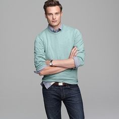 Mens wear - mint, light blue, brown and jeans Soft Summer, Summer Men, Mint Sweater, Sunday Outfits, J Crew Men, Sweaters And Jeans, Models, Gentleman Style, Cashmere