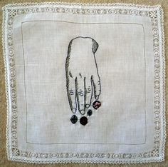 Hand with crystals embroidery © Laura Claire Wilkinson