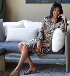 Hand Batik Silk Georgette dress with peasant sleeves in Fall colors.