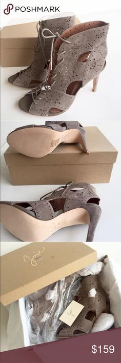 NIB Joie Tan Pumps New. In box. Beautiful open-toe suede lace up bootie.  Joie makes a beautifully designed, high quality shoe. Layered nubuck panels construct peep-toe, lace-up booties, subtly patterned with petite, geometric cutouts. Covered heel and leather sole. Shoes will ship in original box and packaging.   Leather: Lambskin.   MEASUREMENTS Heel: 3.75in / 95mm Joie Shoes Heels