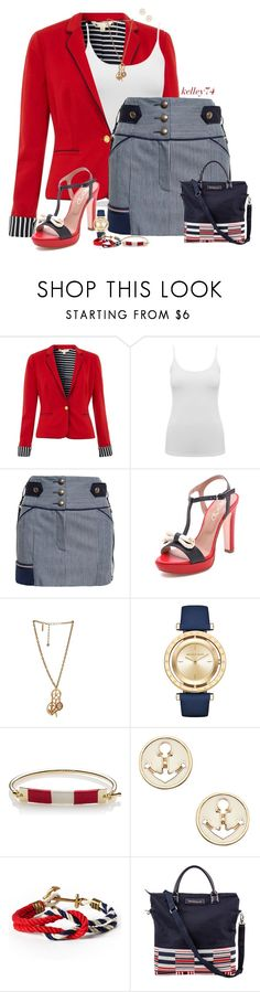 """""""Anthony Vaccarello Striped Denim Skirt"""" by kelley74 ❤ liked on Polyvore featuring Yumi, M&Co, Anthony Vaccarello, RED Valentino, Oscar de la Renta, Michael Kors, Sperry, Blu Bijoux and Want Les Essentiels de la Vie"""
