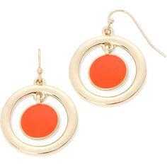 Liz Claiborne Orange Stone Gold-Tone Orbital Drop Earrings (52 RON) ❤ liked on Polyvore featuring jewelry, earrings, round drop earrings, orange jewelry, long earrings, stone jewelry and round earrings