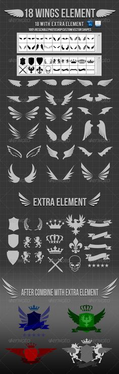 18 Wings Photoshop Custom Shapes v2 - #logo