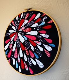 Embroidery Hoop Art- Printed Fabric Art - Wall Hanging Picnic  sc 1 st  Pinterest & embroidery hoop wall display; a different twist on the standard ...