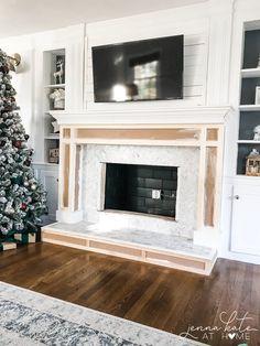 Fireplace Surround Diy, Wood Fireplace Surrounds, Diy Fireplace Mantel, Fireplace Frame, Build A Fireplace, Simple Fireplace, Paint Fireplace, Brick Fireplace Makeover, Custom Fireplace