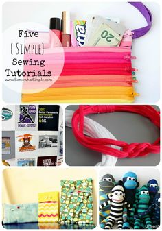 5 simple sewing tutorials that anyone can do! Via Somewhat Simple