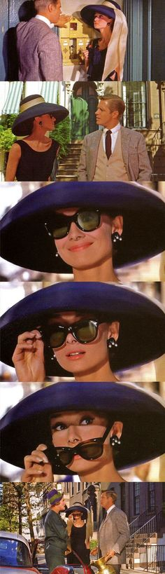 "Audrey in scenes from ""Breakfast at Tiffany's, her wardrobe is by Givenchy, sunglasses by Oliver Goldsmith, Patricia Neal's wardrobe is by Pauline Trigere, 1961 