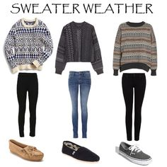sweaters and skinny jeans or skinny black pants.