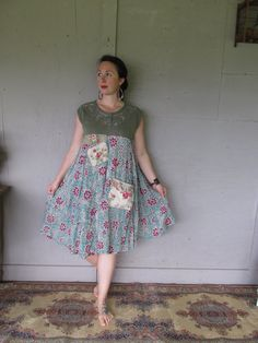 flowing summer dress upcycled clothing Romantic dress Funky floral dress Bohemian Peasant Dress L X Large Eco artsy dress LillieNoraDryGoods