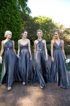 Our Signature Multiway dresses are loved by bridesmaids because they can be wrapped endless ways, each maid can feel totally comfortable and beautiful || Goddess By Nature