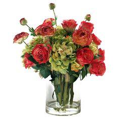 Faux Ranunculus & Rose Arrangement.