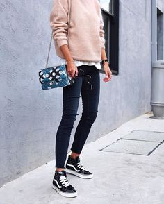 @ andicsinger - Going nuts for blush // #acnestudios knit, @paige jeans and @roughstudios bag (LOVE!)