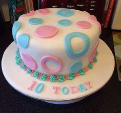 10th birthday cake with a yummy haribo secret centre!