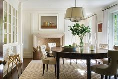 Daylit dining room with Thomas Pheasant Collection by Baker Furniture