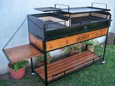Parrilla Huinca 110 Diy Outdoor Kitchen, Outdoor Cooking, Argentina Grill, Parrilla Interior, Build A Smoker, Barrel Bbq, Built In Braai, Fire Pit Grill, Bbq Area