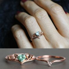 Mint green tourmaline ring set in rose gold with diamonds.