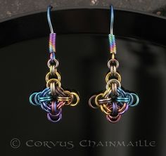 #chainmaille B2+1 #earrings in niobium