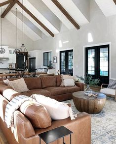 18 Vaulted Ceiling Designs That Deserve Your Attention Modern Farmhouse Living Room Attention ceiling Deserve Designs Vaulted Furniture Top View, Furniture Design, Pipe Furniture, Leather Furniture, Farmhouse Furniture, Bedroom Furniture, Furniture Ideas, Bedroom Decor, Home Living Room