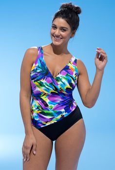 d6ea60c9449 Longitude Mardi Gras Side-Shirred Surplice Swimsuit Plus Size One Piece