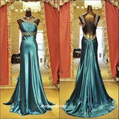Backless Sexy Fit and flare prom dress, long prom dress with beaded waist band and beaded straps ,Royal Evening dress, Party dresses. $199.99, via Etsy.