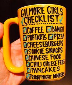 Gilmore Girls Checklist Coffee Mug- Coffee- Danish- Pizza… Glimore Girls, Girls Life, Coffee Love, Coffee Mugs, Gilmore Girls Quotes, Gilmore Girls Coffee Mug, Lorelai Gilmore, Stars Hollow, Ideas