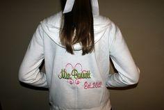 Mrs Bride Zippered  Zip Up Fleece Hoodie by TheFlowerFairyShop, $40.00