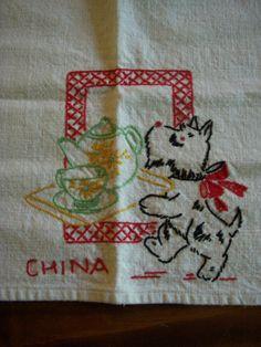 Vintage Cute Embroidered Kitchen Towel Scotty Dog |