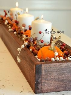 Wooden Box Thanksgiving Table Centerpiece | Charming Thanksgiving Centerpieces For A Homestead Table Setting