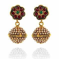 Golden Red, Pearl Earrings, Drop Earrings, Temple Jewellery, Designer Earrings, Indian Jewelry, Evergreen, Bollywood, Diamonds