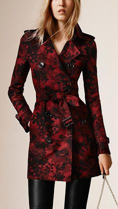 Parade red Camouflage Jacquard Cotton Trench Coat - Image 1