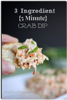 3 ingredient {5 minute} Crab Dip with graphic